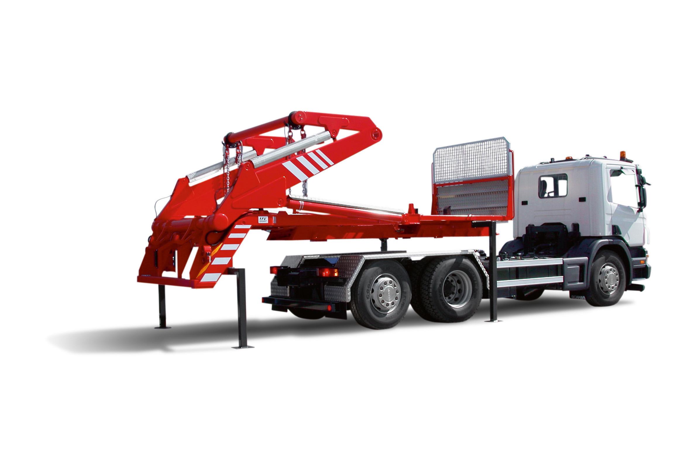 Roter Knickarm-Absetzkipper von UT Umwelt- und Transporttechnik