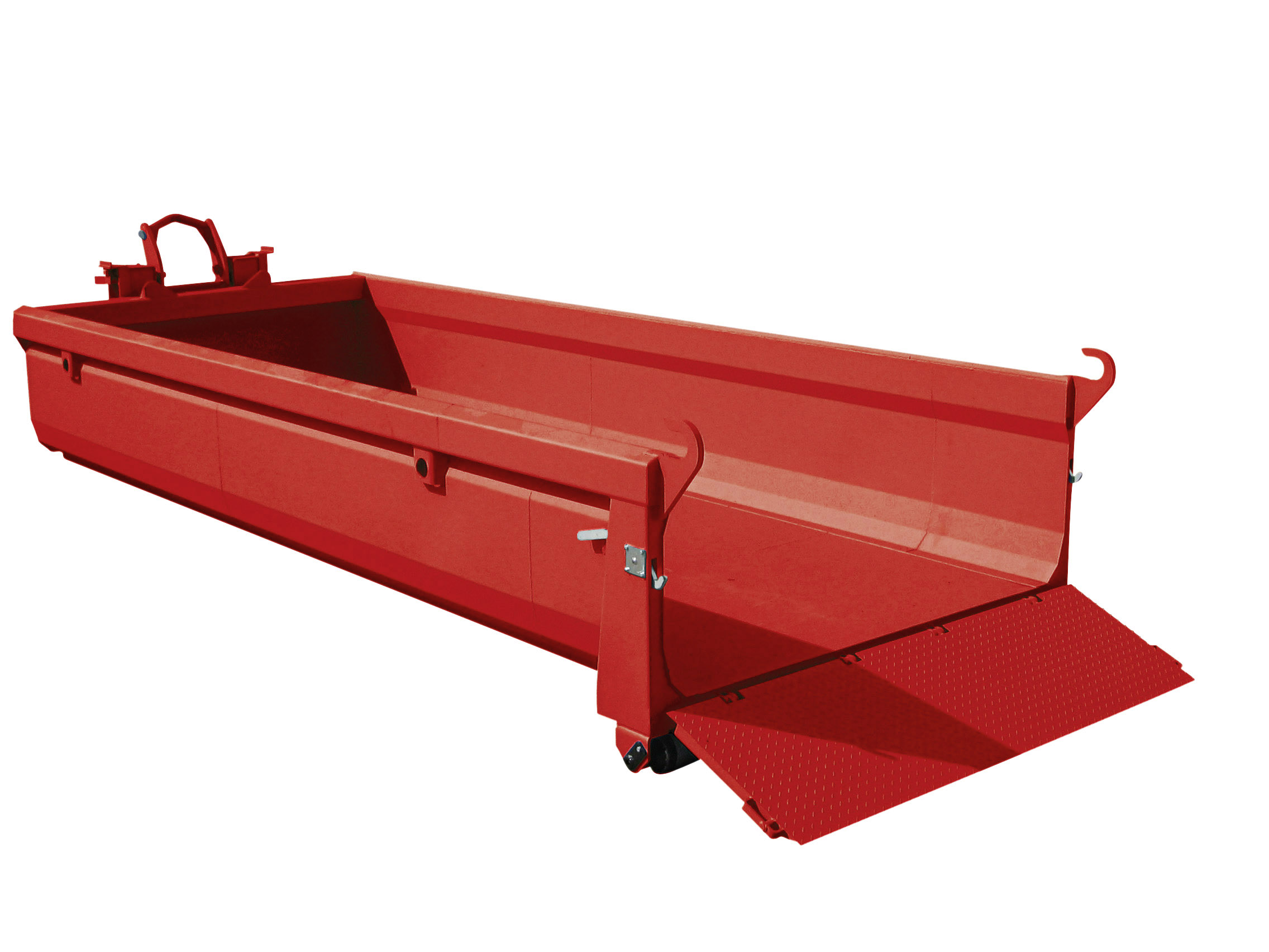 Roter stapelbarer Container Petrolfarbener ORCA Abrollcontainer von UT Umwelt- und Transporttechnik AG